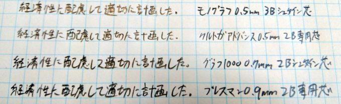 シャーペンの筆跡比較