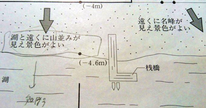 リゾートホテルの敷地図(湖と桟橋)