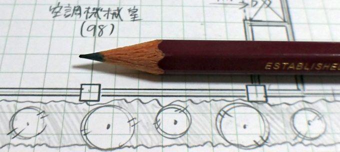 鉛筆で植栽を塗る