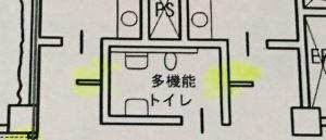 スポーツ施設標準解答例の多機能トイレと袖壁